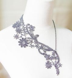 silver lace necklace  art deco floral bib  vintage by LaceFancy, $14.99
