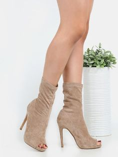 5560e0a802d74 High Shaft Faux Suede Ankle Booties NUDE Stiletto Heels