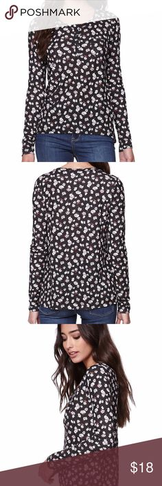 Pacsun Nollie Long Sleeve Rib Henley T-Shirt Pacsun Nollie Long Sleeve Rib Henley T-Shirt Blouse Top Tee Black Womens Small  The women's Long Sleeve Rib Henley T-Shirt by Nollie for PacSun.  * Button up henley front * super soft fabric * long sleeves and print throughout * Wear this with our denim, skirts, or     shorts for chic laid back style! Nollie Tops Tees - Long Sleeve