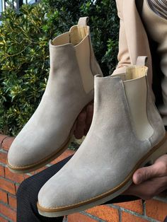 Chelsea Boots Outfit, Leather Chelsea Boots, Calf Leather, Suede Leather, Leather Shoes, Beige Boots, Grey Shoes, Best Shoes For Men, Stylish Mens Outfits