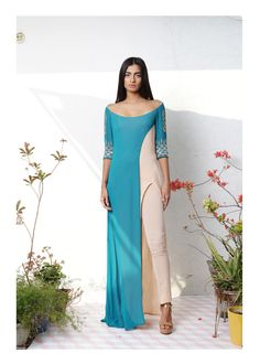 Honeydew Layered Tunic with Stretch Pants: High slit layered tunic with delicate hand embellished sleeves paired with stretch georgette pants