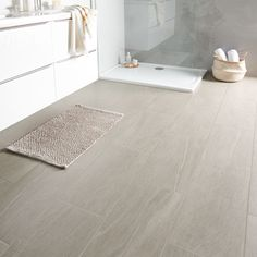 Natural Greige Satin Stone effect Porcelain Floor tile, Pack of - B&Q for all your home and garden supplies and advice on all the latest DIY trends Wood Effect Floor Tiles, Tile Floor Diy, Wood Tile Floors, Bathroom Floor Tiles, Wood Bathroom, Kitchen Flooring, Bathroom Ideas, Bathroom Inspo, Bathroom Inspiration