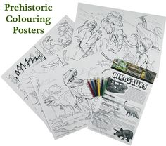 Dinosaur Colouring Posters from Everything Dinosaur, a super dinosaur themed gift for budding dinosaur artists to help theme up a child's bedroom (from £1.89 plus postage).