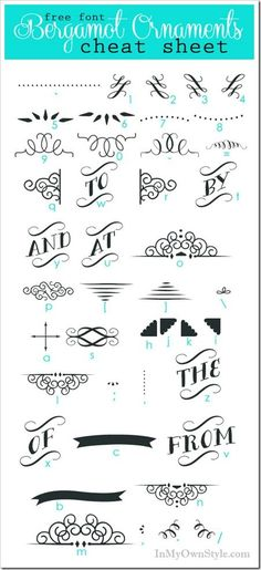 If you love fonts  - 2 free cheat sheets to download.  Bergamot Ornaments Character Map will help you learn the keystrokes to make use of these pretty flourishes on gift tags, cards, chalkboard art, and more.  #freefonts  | http://awesome-wedding-ideas-614.blogspot.com