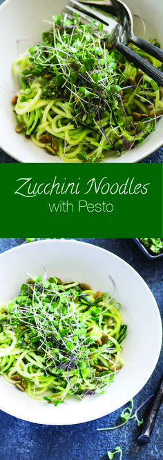 These zucchini noodles topped with almond pesto & micro greens make the perfect side dish or light meal.