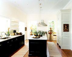 kitchen - dark + light wood, white