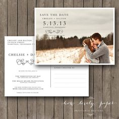 Printable Save the Date Postcard  Photo by HowLovelyPaper on Etsy, $10.00