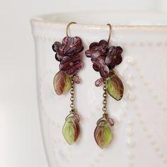 Green Purple Flower & Leaf Glass Dangle Earrings by YuniDesigns