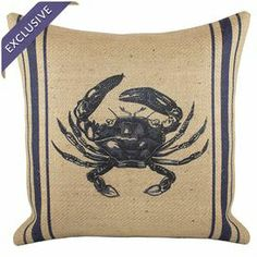 """Burlap pillow with a blue crab design and stripes. Handmade in the USA exclusively for Joss & Main.  Product: PillowConstruction Material: BurlapColor: Navy and beigeFeatures:  Handmade by TheWatsonShopInsert includedZipper enclosureMade in the USA Dimensions: 16"""" x 16""""Cleaning and Care: Spot clean only"""