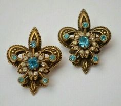 Pair little heraldic fleur de lis brooches depict have lily flower with topaz and clear rhinestones, circa Vintage Brooches, Vintage Earrings, Vintage Costume Jewelry, Vintage Jewelry, Jewelry Gifts, Jewelry Necklaces, Unisex Gifts, Jewelry Collection, Topaz