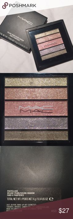 MAC Veluxe Pearlfusion Shadow Palette - Pastelluxe This brand new Mac Veluxe Pearlfusion Shadow Palette in Pastelluxe is gorgeous! Never been opened. The Veluxe Pearlfusion Shadow Palette features five complementary shades in one convenient palette that glide on and blend beautifully. Offers and questions welcomed! MAC Cosmetics Makeup Eyeshadow