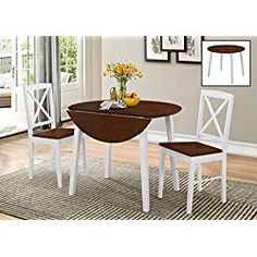 white round kitchen table with leaf White Round Kitchen Table, Small Kitchen Table Sets, Round Dining Table, Pub Dining Set, Dining Room Bar, Space Saving Dining Table, Dinette Sets, Drop Leaf Table, Apartment Living