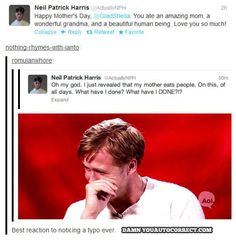 Neil Patrick Harris Gets Autocorrected Too! - Damn You Auto Correct!