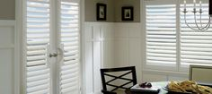 Hunter Douglas® Newstyle Plantation shutters provide a beautiful finishing touch to this kitchen space. Available for french doors as well with door handle cutouts. Decor, Room, Interior, Window Styles, Hunter Douglas Shutters, Home Decor, Patio Doors, Custom Shutters, Custom Blinds