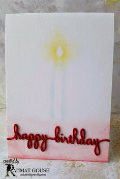 Sponged candle, and glittery birthday wishes