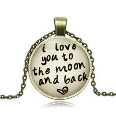 Bronze Glass Pendant I Love You To The Moon and by Chasingdreams97