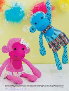 Monkey Toy Sewing Pattern Download 803740