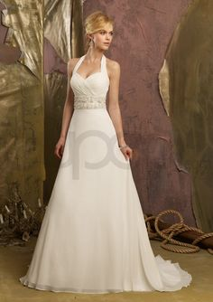 A-Line Chiffon Wedding Dress   Chiffon A-line Halter Sweetheart Wedding Dress #005394