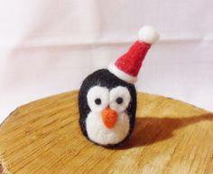 Needle Felted Christmas Penguin  Christmas Ornament by feltindevon