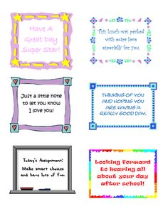 Free Printable Lunch Notes from Wondermom Wannabe
