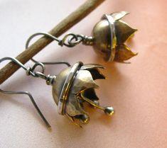 Musical Earrings - Lotus Flower Bell Earrings - Mixed Metal Dangle Earrings - Music Jewelry - Mixed Metal Artisan jewelry.  via Etsy.