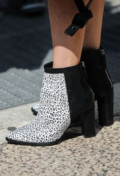 Best Street Style Shoes and Bags from Fashion Week Spring 2015 - New York Fashion Week - Two-tone versatile booties to be worn for all seasons.