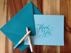 Large Calligraphy Thank You note set - Turquoise set of 5 cards - hand stamped and embossed   on Etsy, $7.50
