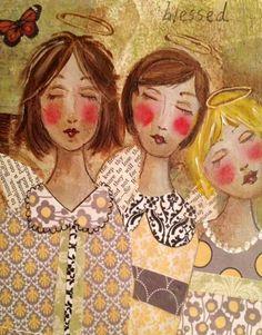 Ángel Ángel Original, grabado mezclado medios de impresión, personalizado pintado Ángel impresión, bellas artes grabado, Ángeles, técnica mixta