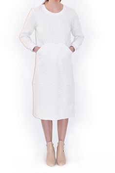 Verner, pullover dress. French jersey dress with textured 3-deminsional rubber dot print.