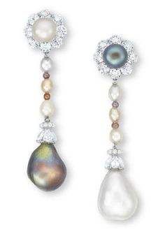 A PAIR OF NATURAL PEARL, SEED PEARL AND DIAMOND EAR PENDANTS