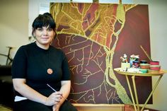 Aboriginal artist Arkeria Rose Armstrong, 28, spent four years travelling with her family in a caravan around remote outback Australia, which has inspired her work about country.