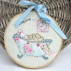 "Handmade 7"" Bathtime Tilda Embroidery Artwork made by me for I Love Pretty Things made using Tilda Fabrics"