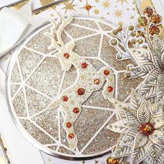 Glittering Gold Reindeer Christmas Card by Glynis Bakewell Reindeer Christmas, Christmas Cards, Chloes Creative Cards, Stamps By Chloe, Bakewell, Geometric Circle, Card Making Tutorials, Wow Products, Christmas Inspiration