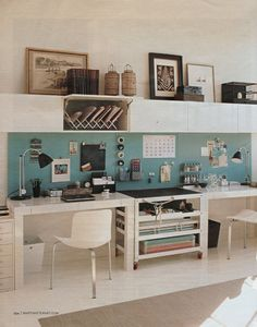 Rolling cart between desks, spice jars on magnetic wall for notions, aqua ~ Blogging...Martha Stewart Circa April 2008