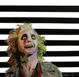 Full colour painting of the character Beetlejuice on a black and white horizontally striped background. Striped Background, Beetlejuice, Paint Colors, Daisy, Black And White, Painting, Fictional Characters, Art, Paint Colours