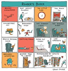 """""""Reader's Block"""" Poster sold by Incidental Comics. Shop more products from Incidental Comics on Storenvy, the home of independent small businesses all over the world. Great Books, New Books, Books To Read, Life Comics, Book Subscription, The 5th Of November, Book Worms, Frases, Book Nerd"""
