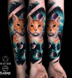 Colorful cat forearm tattoo - 100+ Examples of Cute Cat Tattoo  <3 <3