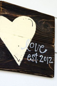 Wedding gift heart reclaimed wood sign by SlightImperfections, $30.00