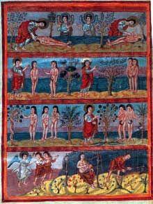 Bible de Moutier-Grandval. Cycle d'Adam et d'Eve. Vers 840 510 x 375mm, 510 folios