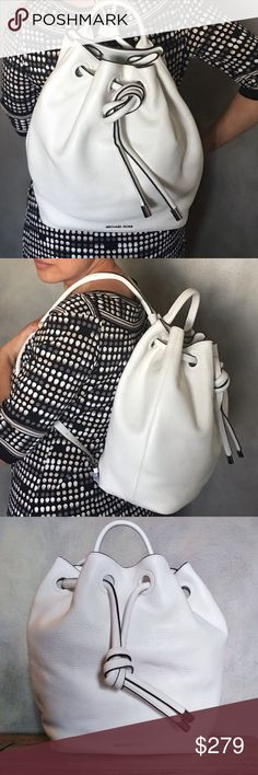 """Michael Kors Bucket bag backpack This trendy piece turns a bucket bag into a backpack. A pure white hue set in pebble leather adds crisp and class. Inside is roomy--great for a laptop or elaborate lunch. Two smaller pockets for essentials. 13""""x 10""""x 6"""" Michael Kors Bags Backpacks"""