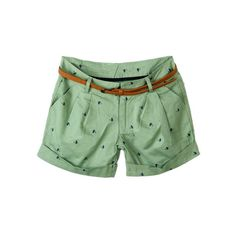 Cat Print Belted Green Shorts ($30) ❤ liked on Polyvore featuring shorts, bottoms, pants, green shorts and belted shorts