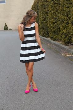 Black and White stripes are a must for this romantic holiday and by adding the color pop with the pink shoes she took this get up from ordinary to extraordinary! Passion For Fashion, Love Fashion, Girl Fashion, Womens Fashion, Valentine's Day Outfit, Outfit Of The Day, Striped Dress, White Dress, Preppy Style