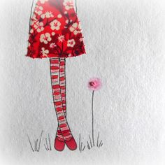 """the reds unframed original stitched drawing by LiliPopo on Etsy, £7.00 a whimsical girl with her crazy curly hair wearing a beautiful liberty dress and some stripy tights, she is looking a little day dreamy.   She is lovingly hand drawn using ink, watercolour and pencils. Then her dress is appliqued and finally I add a little bit of stitch all on a lovely A6 piece of recycled cotton rag paper.  The paper is A6 (6"""" x 4"""") and she would sit nicely in a post card frameShop Etsy LiliPopo"""