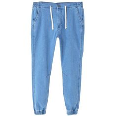 Joggings-Style Medium Wash Jason Jeans (1 200 UAH) ❤ liked on Polyvore featuring men's fashion, men's clothing, men's jeans, mens elastic waist jeans, mens drawstring jeans, mens jogger jeans and mens stretch waist jeans