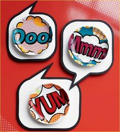 Funky Dinnerware- These pop art Comic Appetizer Plates from cb2 are so much fun! Lithograph bright on high-gloss porcelain