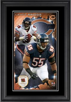 Lance Briggs Chicago Bears 10'' x 18'' Vertical Framed Photograph with Piece of Game-Used Football - Limited Edition of 250