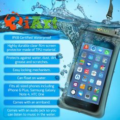 The 3iart waterproof case fits iPhone 6 Plus/6/5s/5/5c/4s/4, Samsung Galaxy S6/S6 EDGE/S5/S4/NOTE 4/3/2, HTC ONE M9/M8/M7, SONY Z4/Z3/Z2, Google Nexus 6/5/4 phones and floats in the water. Includes audio jack and is Perfect for boating or floating by the pool.