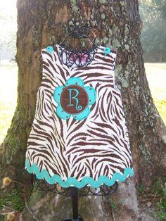 Zebra Flower Initial Dress 035t by sassybritchesbaby 39