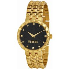 Versus By Versace Coral Gables Black Dial Gold-tone Ladies Watch (445 SEK) ❤ liked on Polyvore featuring jewelry, watches, pyramid jewelry, versus watches, black dial watches, coral jewelry and analog watches