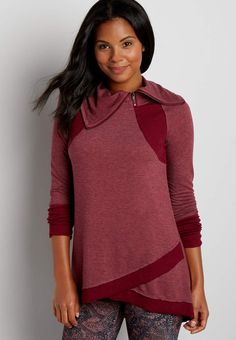 heathered pullover tunic with ribbing   maurices